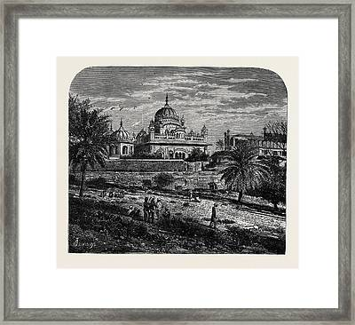 Indian Sketches The Tomb Of Runjeet Singh Framed Print