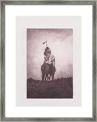 Indian Sunset Of Dying Race Framed Print by Billie Bowles