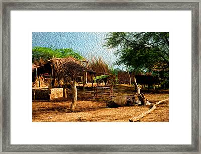Indian Village Framed Print by Deepti Chahar