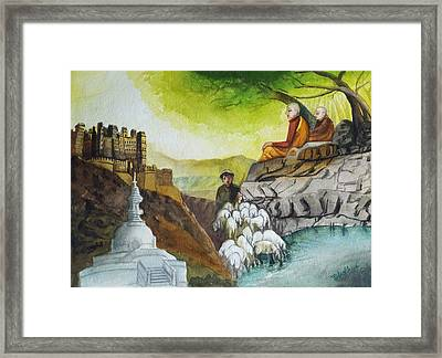 Indian Village Life - 5 Framed Print by Bhanu Dudhat