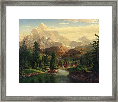 Indian Village Trapper Western Mountain Landscape Oil Painting - Native Americans Americana Stream Framed Print