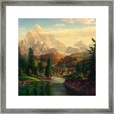 Indian Village Trapper Western Mountain Landscape Oil Painting - Native Americans -square Format Framed Print by Walt Curlee
