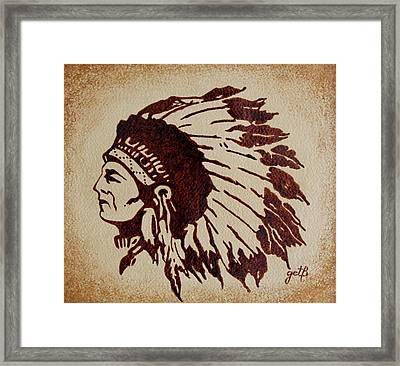 Indian Wise Chief Coffee Painting Framed Print by Georgeta  Blanaru