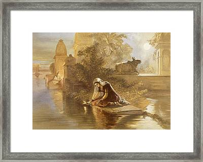 Indian Woman Floating Lamps Framed Print