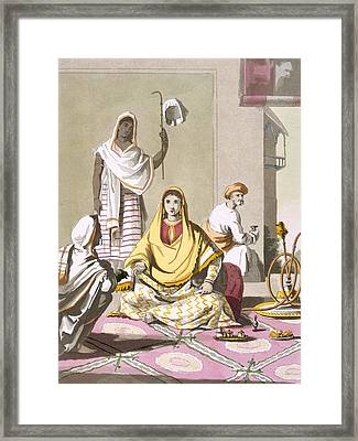 Indian Woman In Her Finery, With Guests Framed Print by Franz Balthazar Solvyns