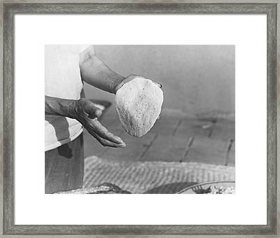 Indian Woman Making Tortillas Framed Print