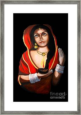 Indian Woman With Lamp Framed Print by Saranya Haridasan