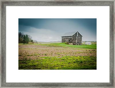 Indiana Barn In The Rain Framed Print