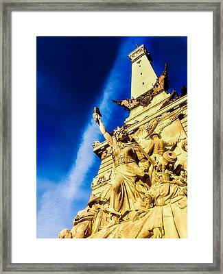 Indiana Civil War Monument Framed Print by Jon Woodhams