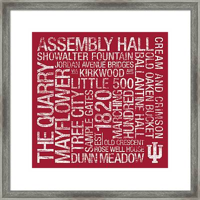 Indiana College Colors Subway Art Framed Print