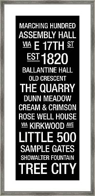 Indiana College Town Wall Art Framed Print