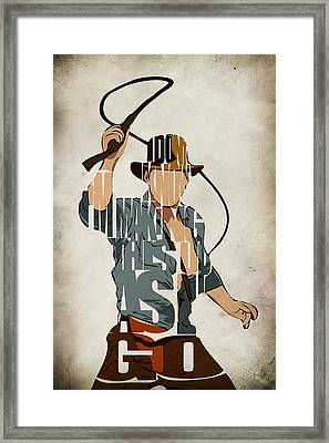 Indiana Jones - Harrison Ford Framed Print by Ayse Deniz