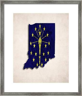 Indiana Map Art With Flag Design Framed Print