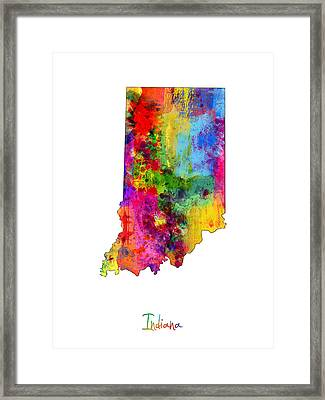 Indiana Map Framed Print by Michael Tompsett