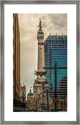Indiana - Monument Circle With State Capital Building Framed Print