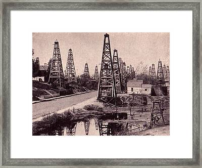 Indiana Petroluem Wells Circa 1900 Framed Print by Peter Gumaer Ogden