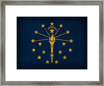 Indiana State Flag Art On Worn Canvas Framed Print by Design Turnpike