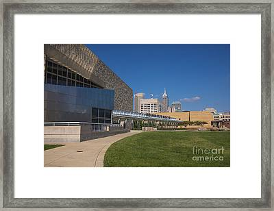 Indiana State Museum And Indianapolis Skyline Framed Print by David Haskett