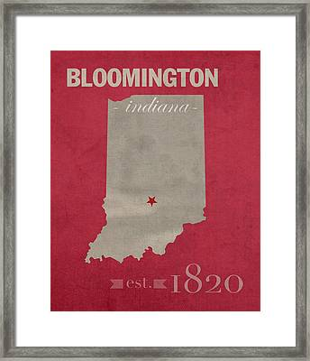 Indiana University Hoosiers Bloomington College Town State Map Poster Series No 048 Framed Print by Design Turnpike