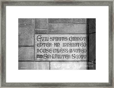Indiana University Memorial Hall Inscription Framed Print