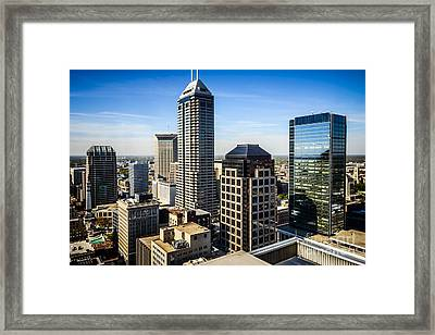 Indianapolis Aerial Picture Of Downtown Office Buildings Framed Print by Paul Velgos