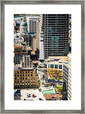 Indianapolis Aerial Picture Of Monument Circle Framed Print by Paul Velgos