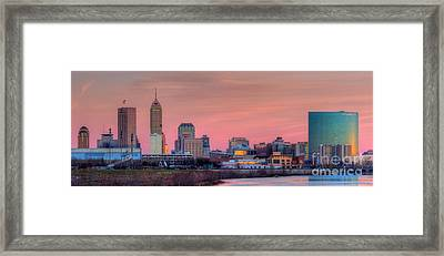 Indianapolis At Sunset Framed Print by Twenty Two North Photography