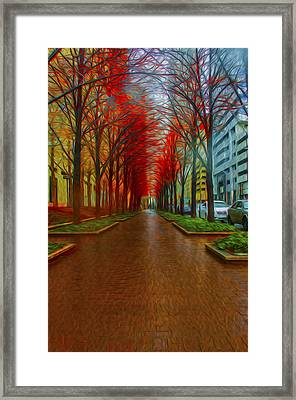 Indianapolis Autumn Trees Oil Framed Print by David Haskett