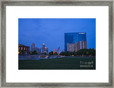 Indianapolis Blue Hour Skyline Framed Print by David Haskett