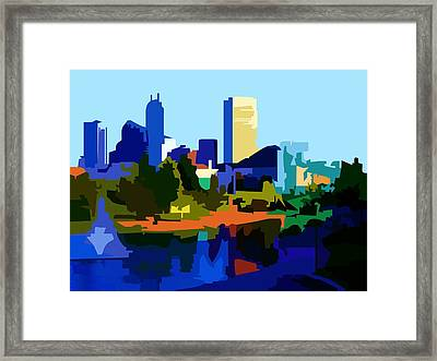 Framed Print featuring the painting Indianapolis Cityscape by P Dwain Morris