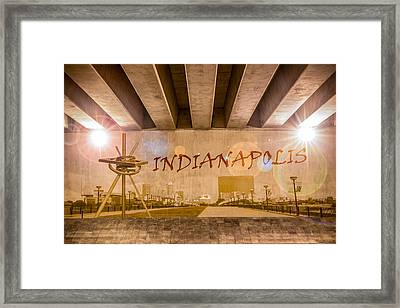 Indianapolis Graffiti Skyline Framed Print by Semmick Photo