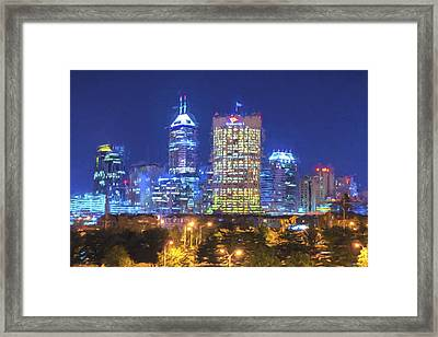 Indianapolis Indiana Digitally Painted Night Skyline Blue 3 Framed Print by David Haskett