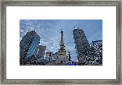 Indianapolis Indiana Monument Circle Blue  Framed Print by David Haskett