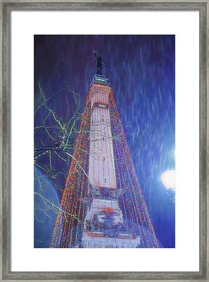 Indianapolis Indiana Monument Circle Christmass Tree Framed Print by David Haskett