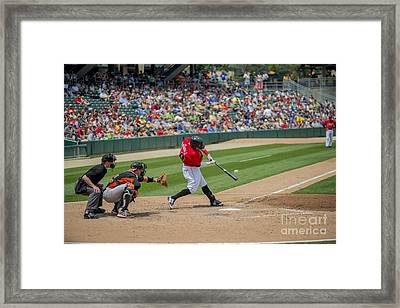Indianapolis Indians Brett Carroll June 9 2013 Framed Print by David Haskett