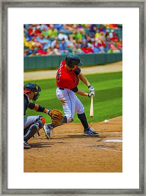 Indianapolis Indians Jared Goedert Digital Oil Painting Framed Print by David Haskett