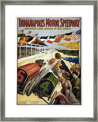 Indianapolis Motor Speedway 1909 Framed Print by Georgia Fowler