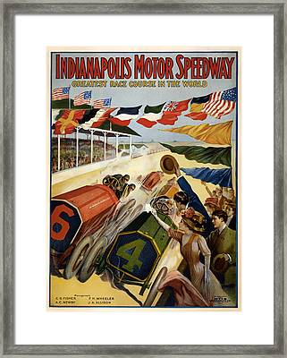 Indianapolis Motor Speedway - Vintage Lithograph Framed Print by Mountain Dreams
