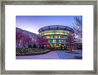 Indianapolis Museum Of Art Blue Hour Lights Framed Print by David Haskett