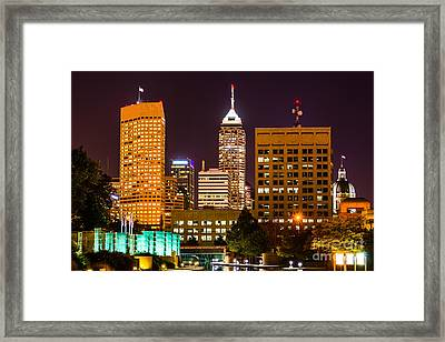 Indianapolis Skyline At Night Picture Framed Print by Paul Velgos