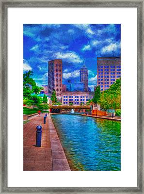 Indianapolis Skyline Canal View Digitally Painted Blue Framed Print by David Haskett