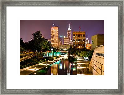Indianapolis Skyline - Canal Walk Bridge View Framed Print by Gregory Ballos