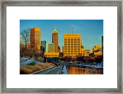 Indianapolis Skyline Dynamic Framed Print by David Haskett