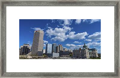 Indianapolis Skyline Low Framed Print by David Haskett