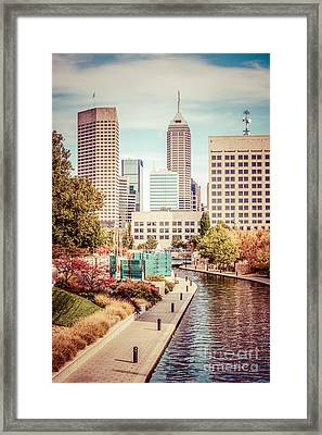 Indianapolis Skyline Old Retro Picture Framed Print by Paul Velgos