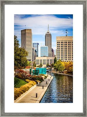 Indianapolis Skyline Picture Of Canal Walk In Autumn Framed Print by Paul Velgos
