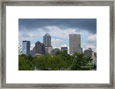 Indianapolis Skyline Storm 3 Framed Print by David Haskett