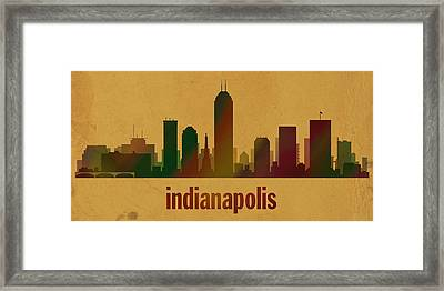 Indianapolis Skyline Watercolor On Parchment Framed Print