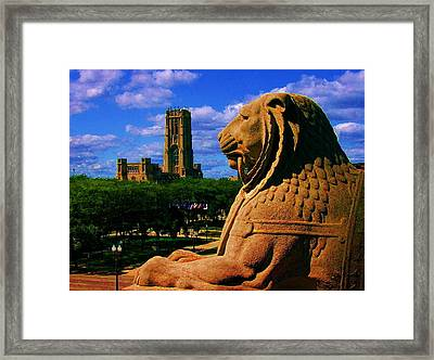 Indianapolis War Memorial Lion Framed Print