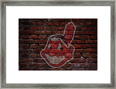 Indians Baseball Graffiti On Brick  Framed Print